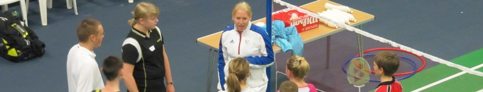 Gail Emms coaching a group of juniors at Bolton Arena